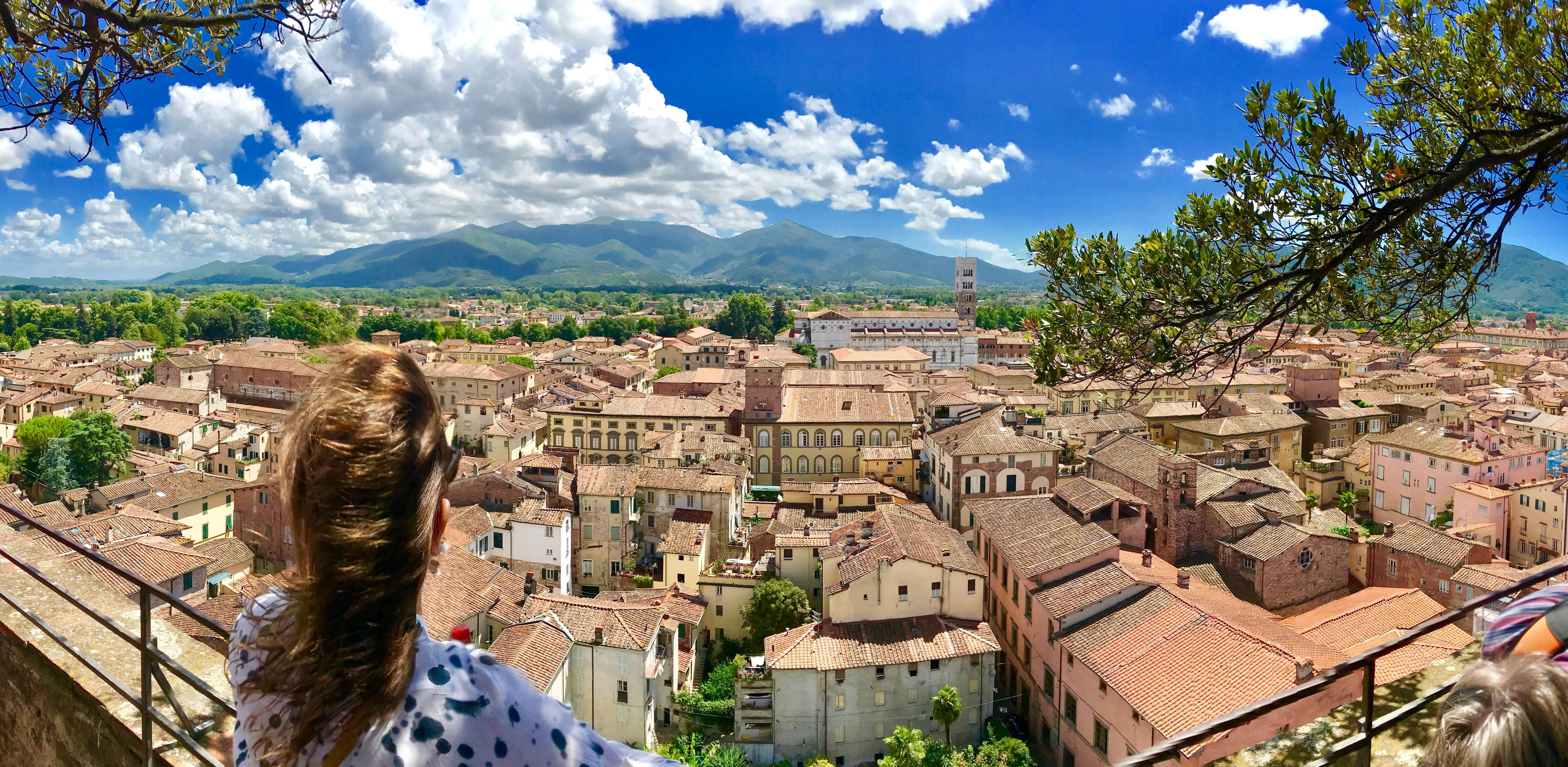 Yoga in Italy Excursion - Panorama view from Torre Guinigi tower in Lucca. Yoga Retreat Italy