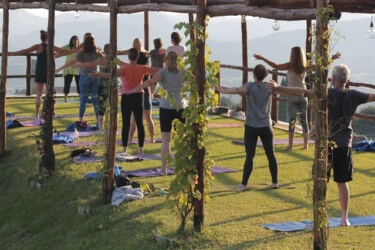 Outdoor Yoga Platform overlooking vineyards and olive groves at Il Borghino