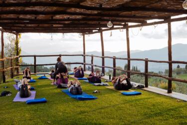 Yoga deck sunset practice